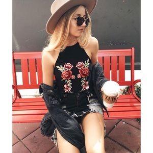 LF floral embroidered halter bodysuit